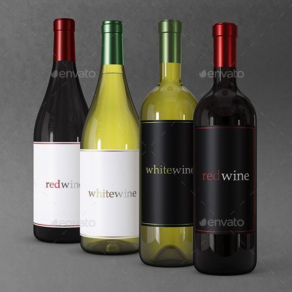 Wine Bottle Mock up - Food and Drink Packaging