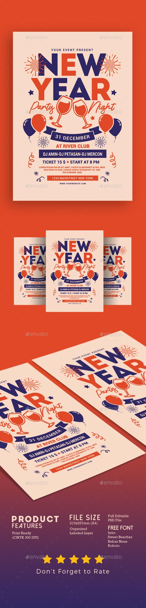 New Year Party Night - Events Flyers