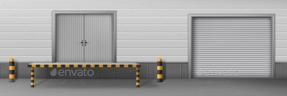 Business Warehouse Closed Gates Realistic Vector - Industries Business