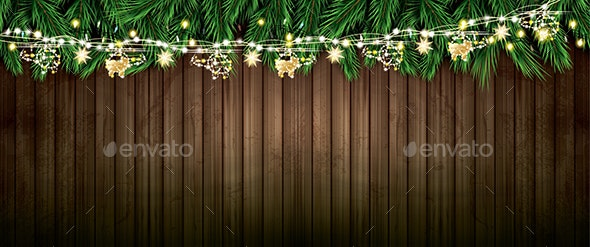 Fir Branch with Neon Lights and Golden Garland - Christmas Seasons/Holidays