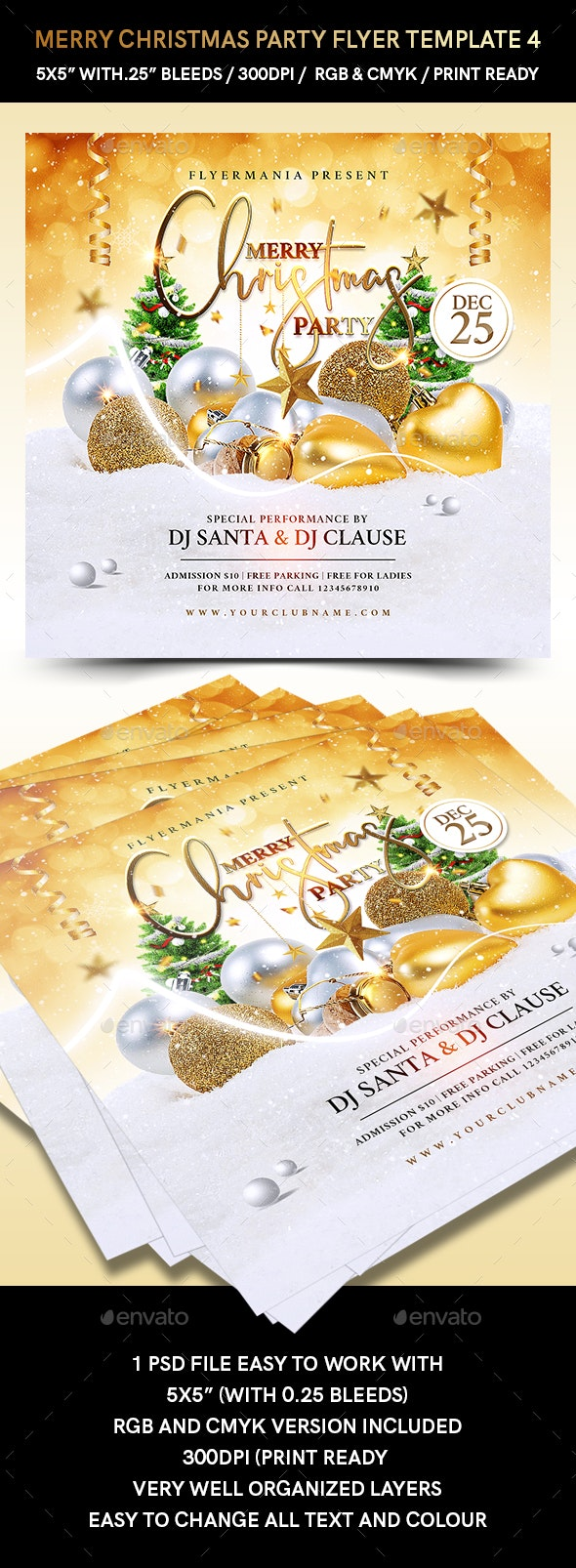 Merry Christmas Party Flyer Template 4 - Flyers Print Templates