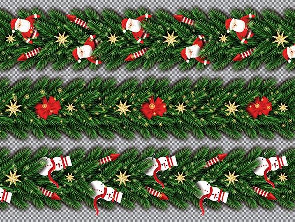 Border Set with Santa Claus and Snowmen - Christmas Seasons/Holidays