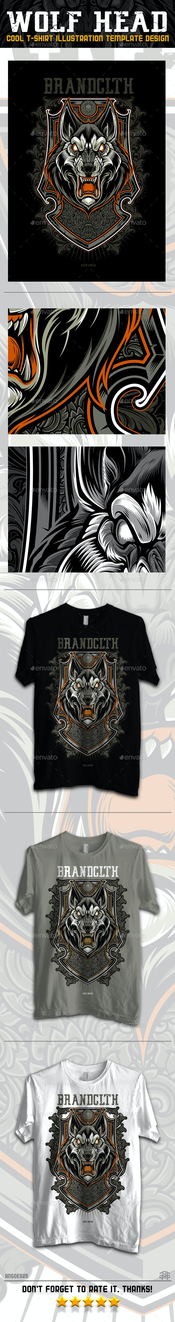 Wolf Head Illustration T-shirt Design Template - T-Shirts