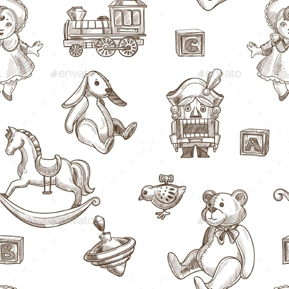 Child Toys Seamless Pattern - Animals Characters