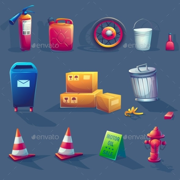 Vector Illustration of Items - Man-made Objects Objects