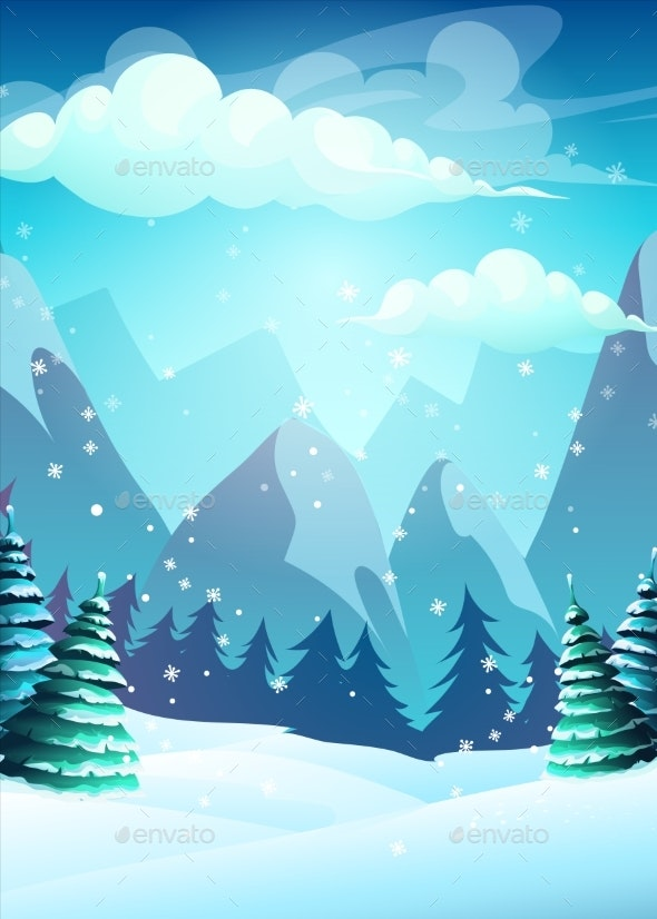 Vector Bright Illustration the Cartoon Winter - Landscapes Nature