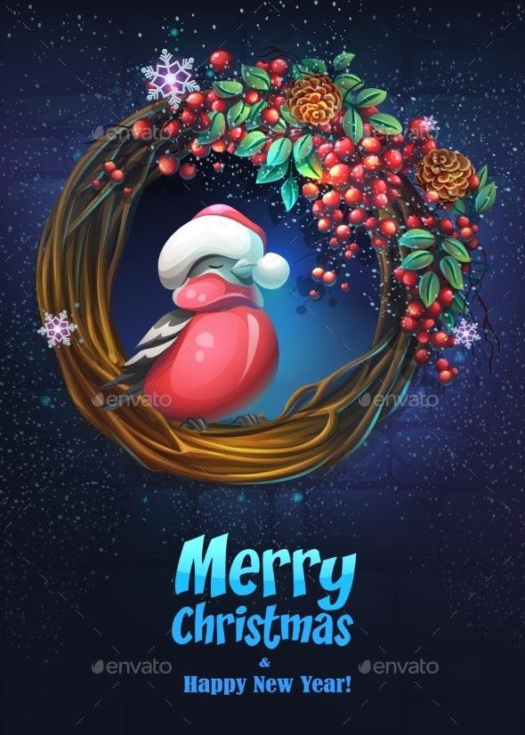 Vector Bright Illustration the Bullfinch Greeting - Christmas Seasons/Holidays