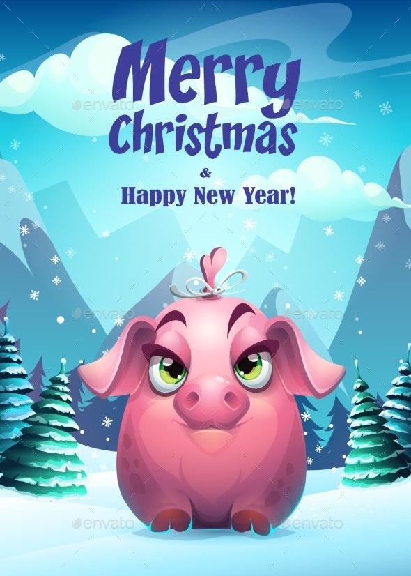 Vector Bright Illustration the Girl Pig Greeting - Christmas Seasons/Holidays