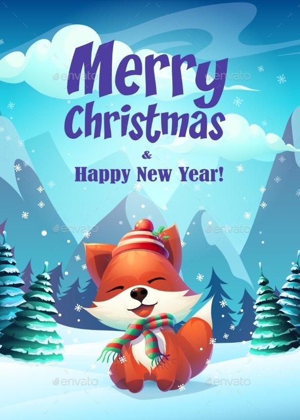 Vector Cartoon Bright Illustration of Fox - Christmas Seasons/Holidays