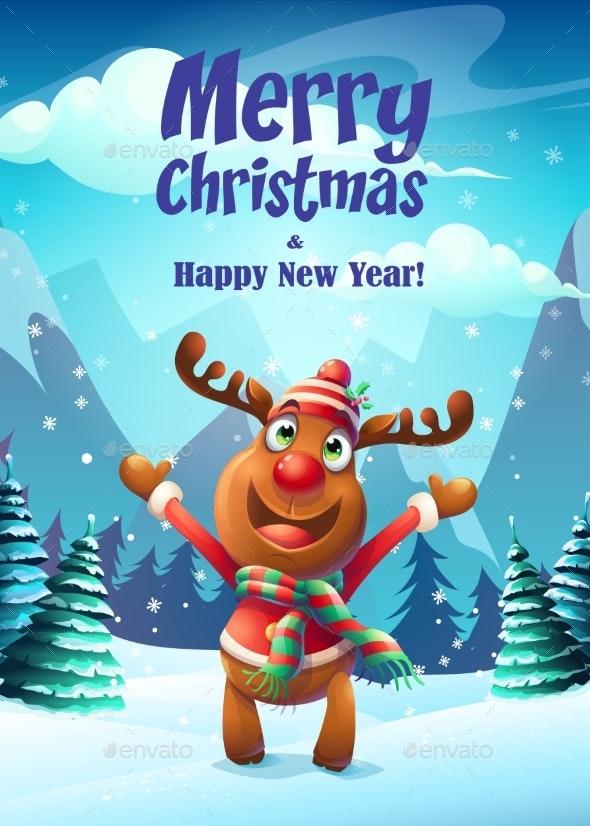 Vector Illustration the Cartoon Deer Greeting Card - Christmas Seasons/Holidays