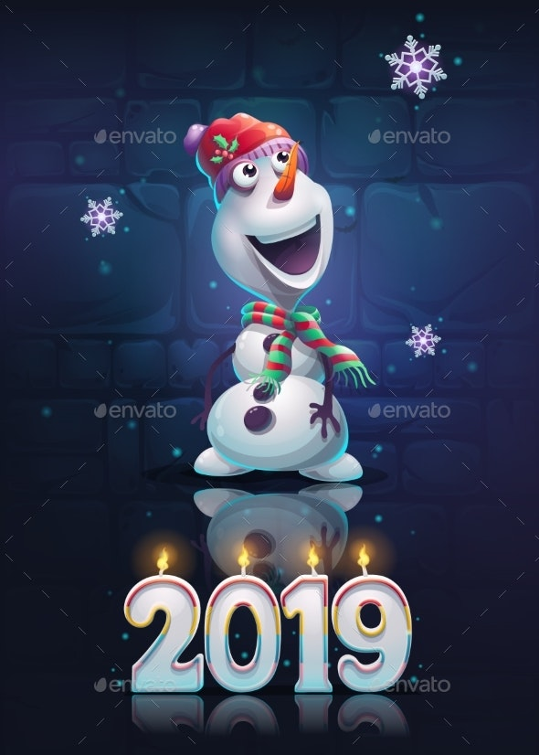 Vector Bright Image Illustration of Snowman - Christmas Seasons/Holidays