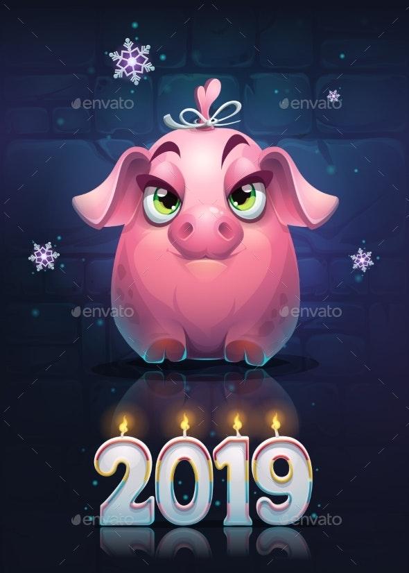 Vector Cartoon Pig Girl on a Brick Wall Background - New Year Seasons/Holidays