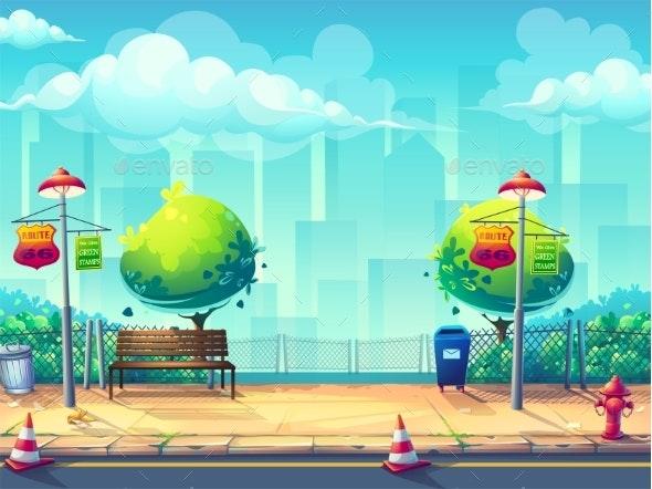 Vector Bright Image of Sidewalk  - Backgrounds Decorative