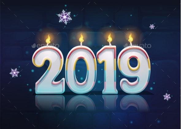 Vector Bright Image Illustration Cartoon 2019 - New Year Seasons/Holidays
