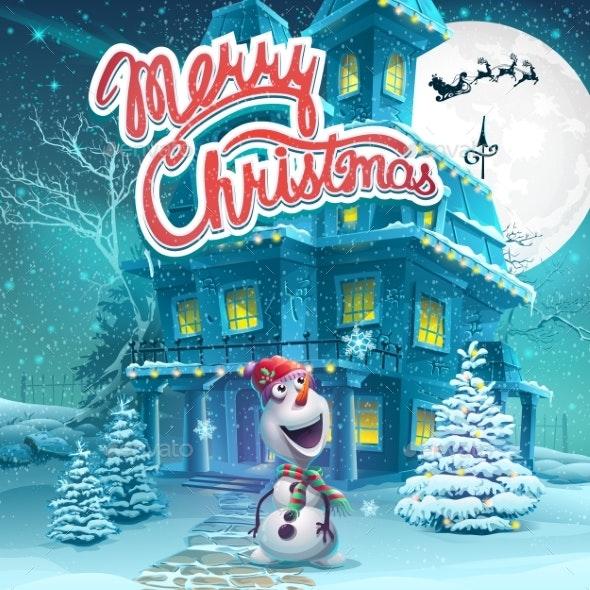 Vector Cartoon Merry Christmas Backround - Christmas Seasons/Holidays