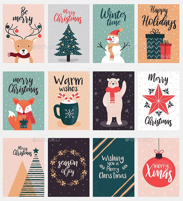 Set of Christmas and New Year Tags - Christmas Seasons/Holidays