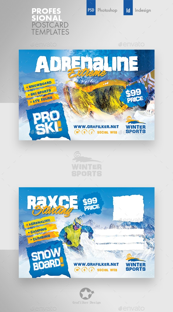 Winter Adventure Postcard Templates - Cards & Invites Print Templates
