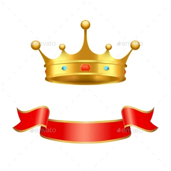 Decorated Crown and Silk Ribbon Heraldry Elements