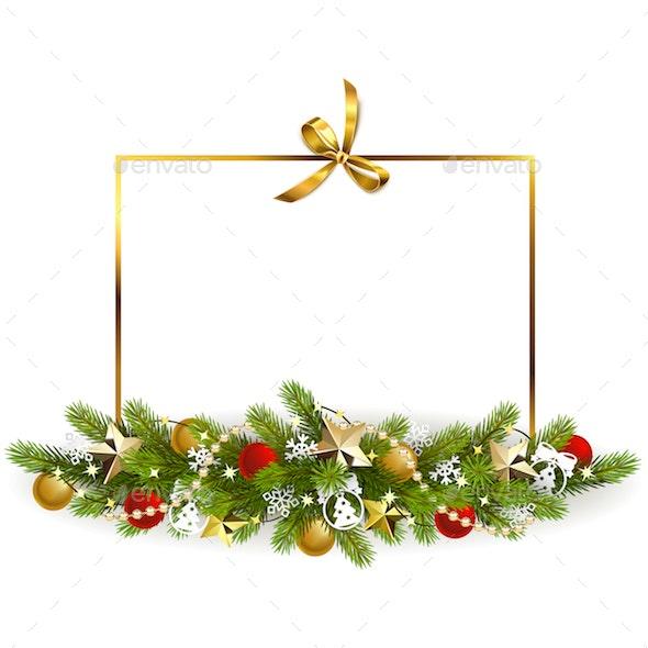 Vector Christmas Fir Decoration with Golden Bow - Christmas Seasons/Holidays