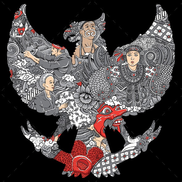 Indonesia Culture in Garuda Silhouete - People Characters