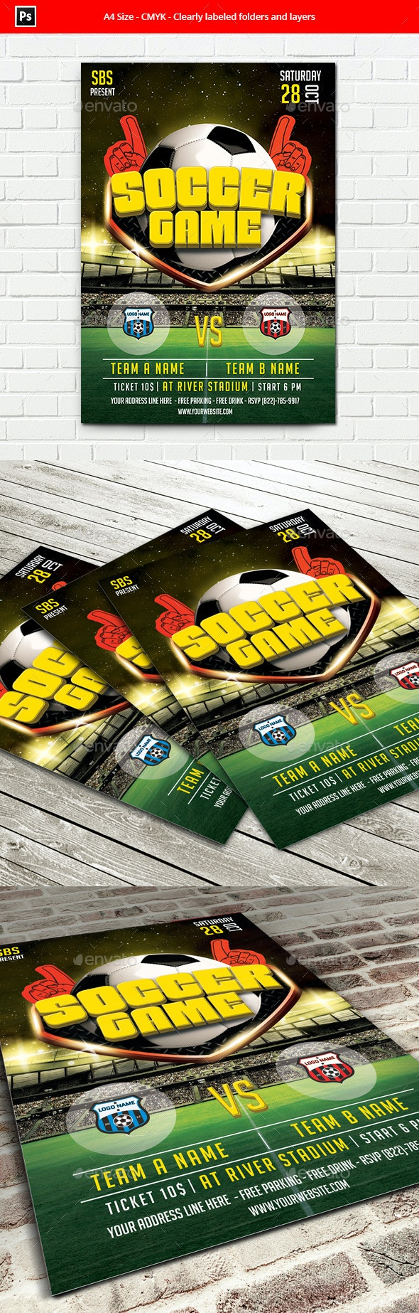 Soccer Game Flyer Template - Sports Events