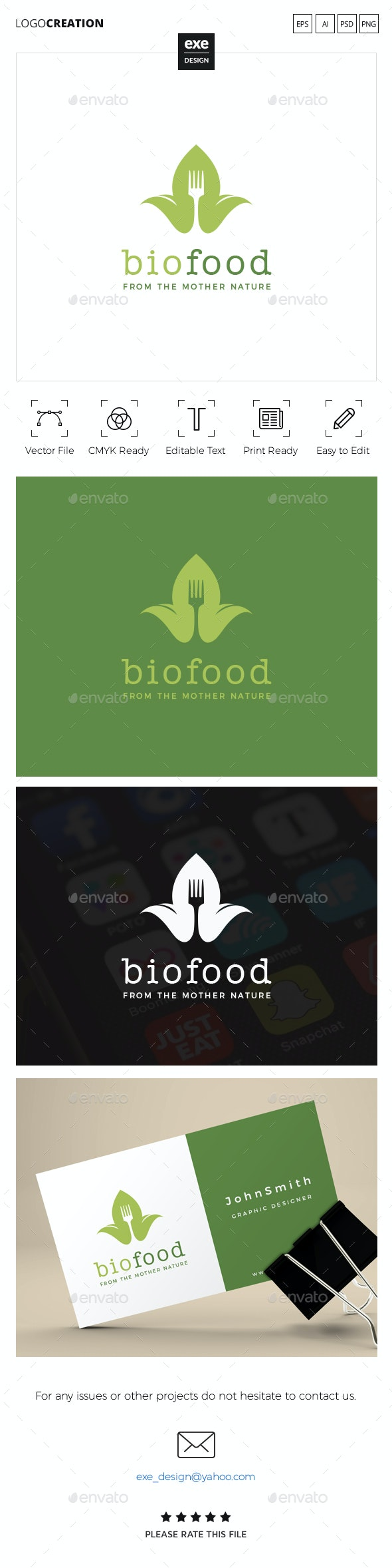Bio Food Logo - Food Logo Templates