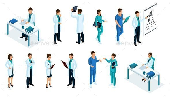 Isometrics Medicine Set of Doctors - Health/Medicine Conceptual