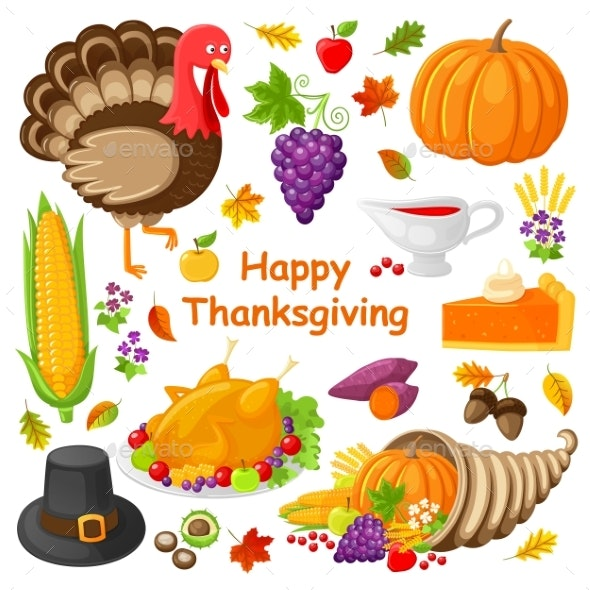 Happy Thanksgiving Day Poster Vector Illustration - Miscellaneous Seasons/Holidays