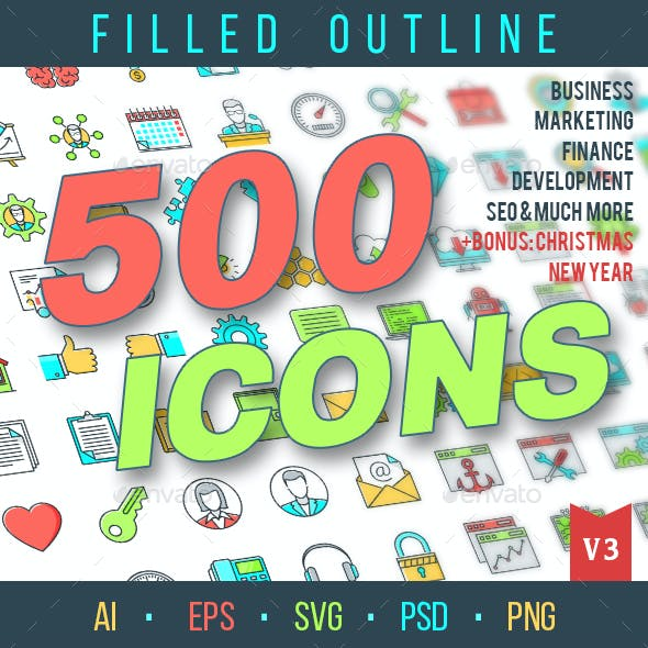 500 Filled Outline Icons