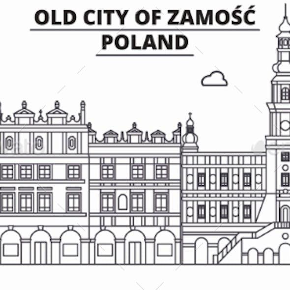 Poland - Zamosc Travel Famous Landmark Skyline