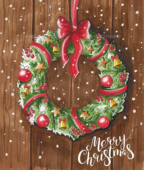 Christmas Wreath on Wooden Door - Illustrations Graphics