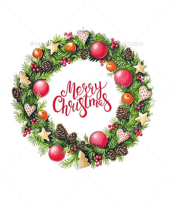 Christmas Wreath with Decorations - Illustrations Graphics