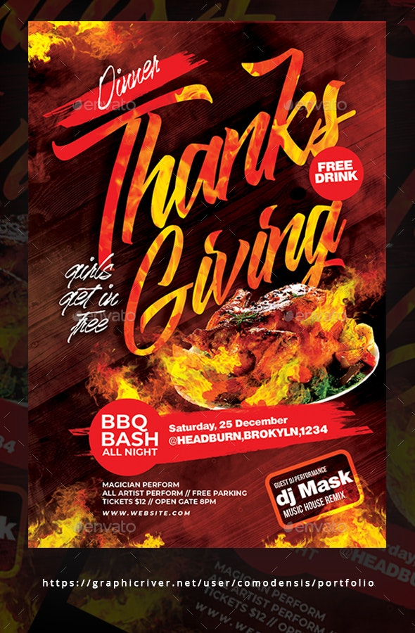 Thanks Giving Flyer Templates - Clubs & Parties Events