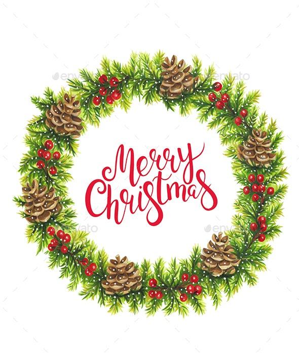 Christmas Wreath Isolation - Illustrations Graphics