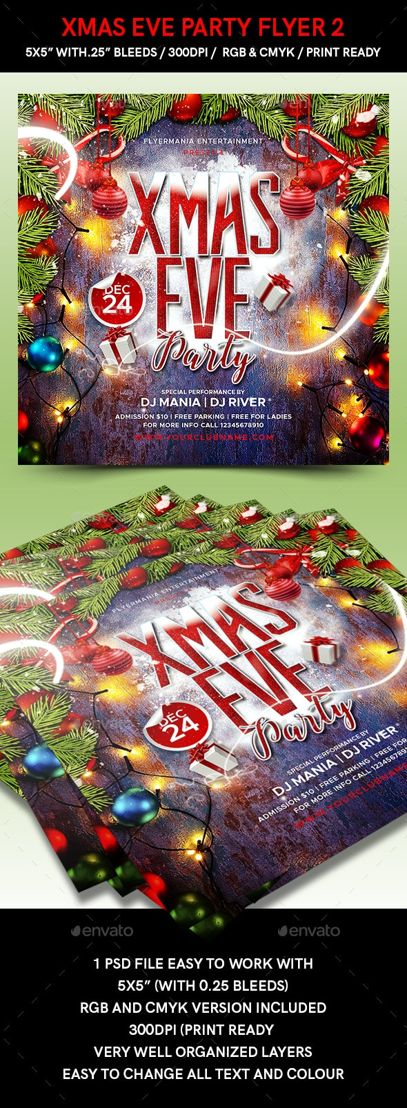 Xmas Eve Party Flyer 2 - Flyers Print Templates