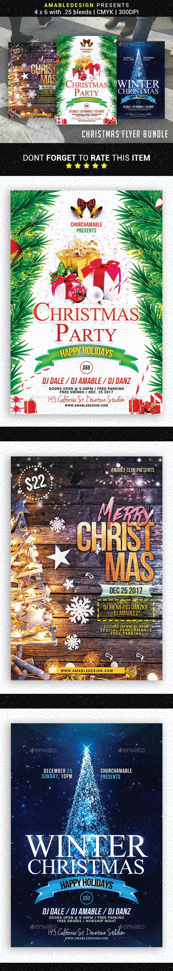 3 in 1 Christmas Flyer/Poster Bundle - Events Flyers