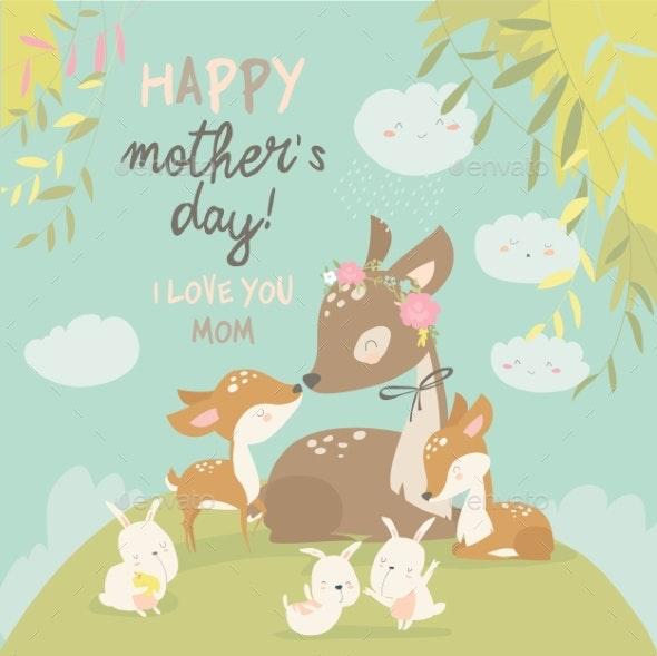 Cartoon Deer Family - Animals Characters