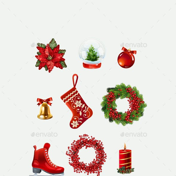 Highly Detailed Christmas Icons.