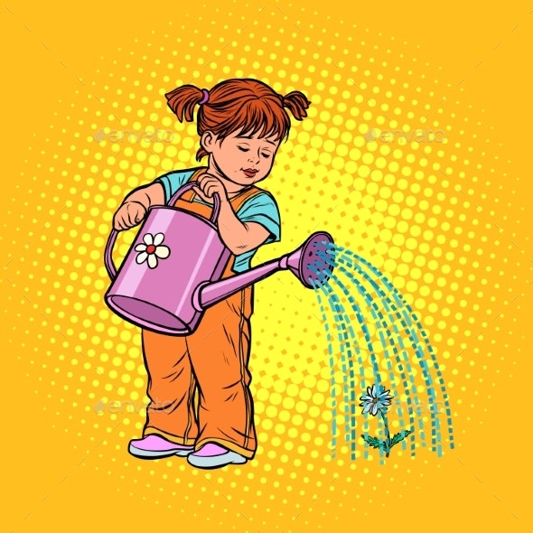 Girl Watering a Flower - People Characters