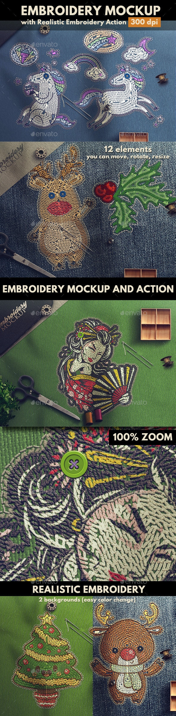 Embroidery Mockup with Embroidery Photoshop Action - Logo Product Mock-Ups