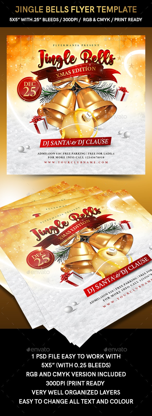 Jingle Bells Flyer Template - Holidays Events