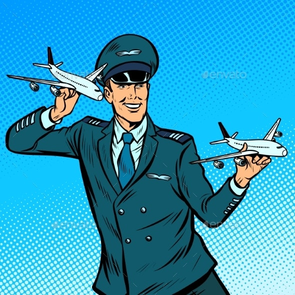 Male Airplane Pilot - Man-made Objects Objects