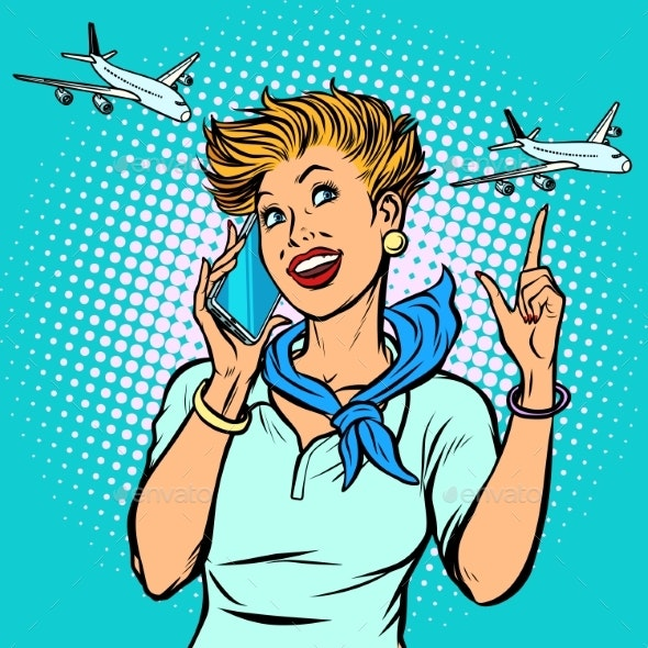 Stewardess at the Airport Talking on the Phone - Man-made Objects Objects