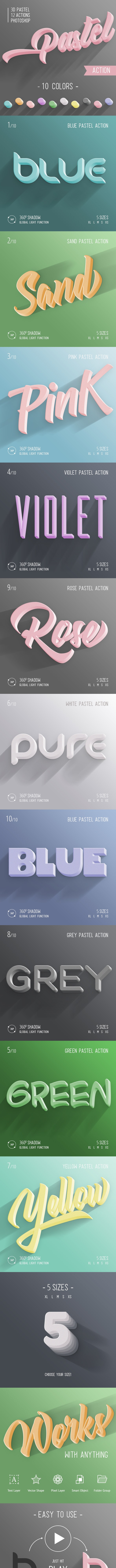 3D Pastel - Photoshop Action - Text Effects Actions