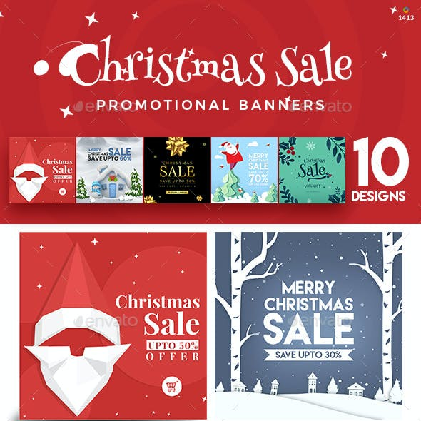 Christmas Sale Instagram Template - 10 Designs