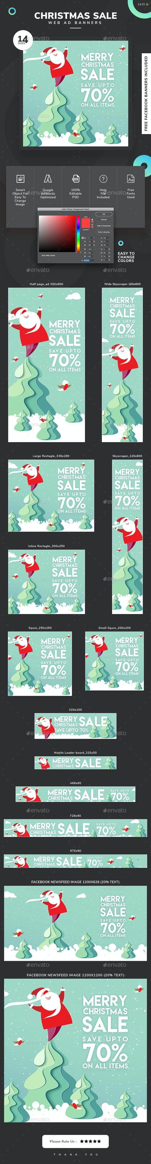 Christmas Sale Web Banner Set - Banners & Ads Web Elements