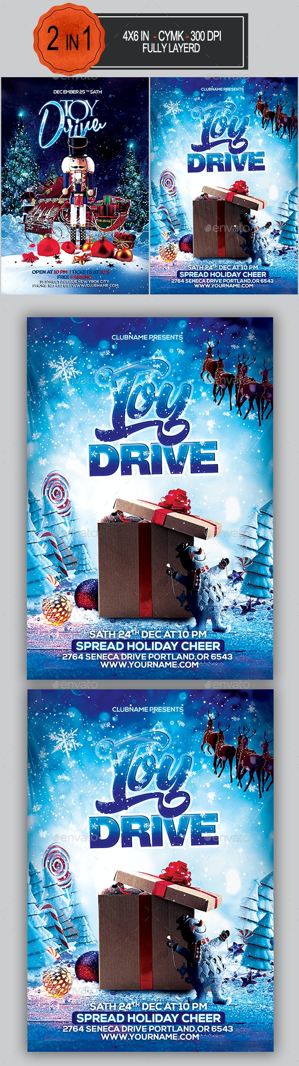 Toy Drive Flyer Bundle - Holidays Events