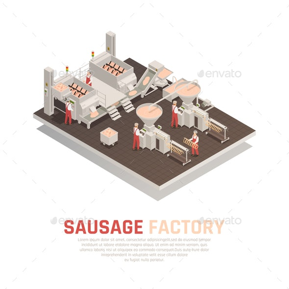 Sausage Factory Isometric Composition - Food Objects