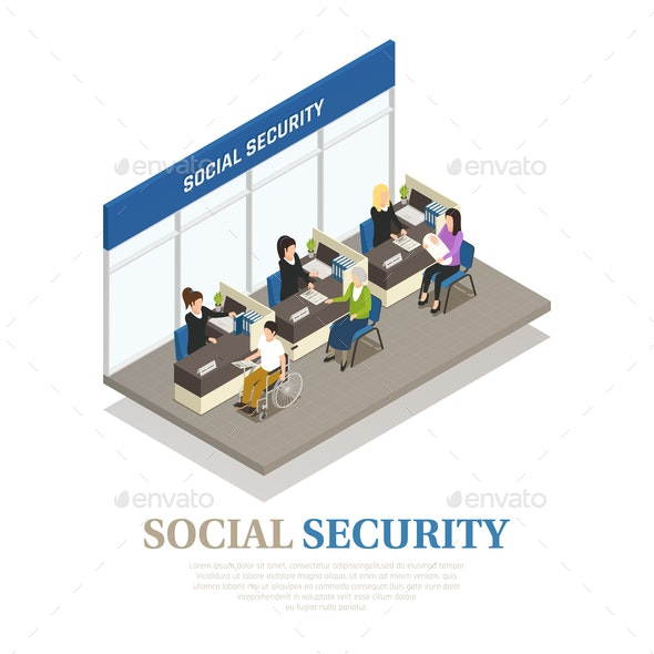 Social Security Isometric Composition - People Characters