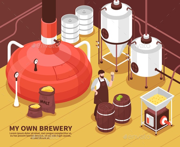 Brewery Owner Isometric Poster - Industries Business